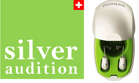 Silver Auditon Logo and charger / avec chargeur